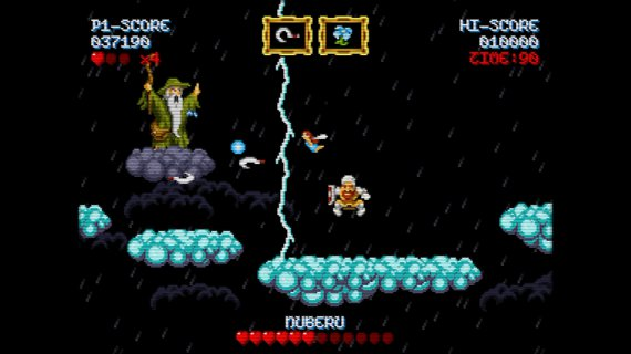 Cursed Castilla fighting against Nuberu on the clouds, a challenging boss fight in this arcade