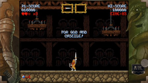 Cursed Castilla arcade retro, Don Ramiro wields the sword over his head unleashing his battle cry of victory
