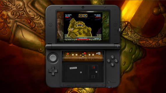 Cursed Castilla, the retro arcade, on 3DS fighting agains the migthy and ugly boss.