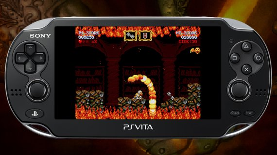 Cursed Castilla on PS Vita, Don Ramiro is crouching to dodge the flames