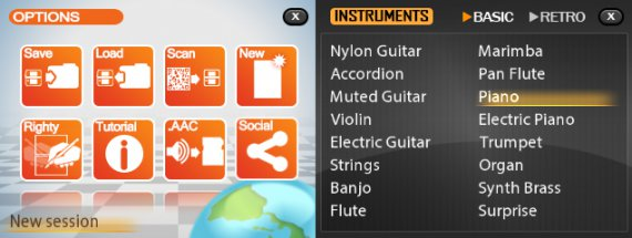 Musicverse: Electronic Keyboard options and the basic instruments menu, where you can choose among a wide variety of classic instruments