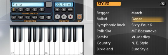 Musicverse electronic keyboard, piano keyboard and the styles menu