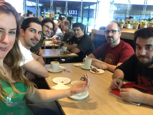 Abylight team at the airport, going to the nordic game jam!
