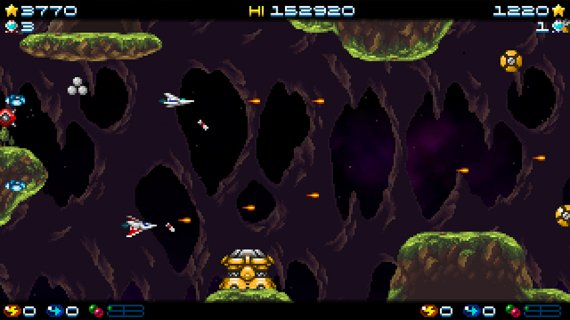 Super hydorah, the arcade shoot'em up co-op mode on the cave planet stage