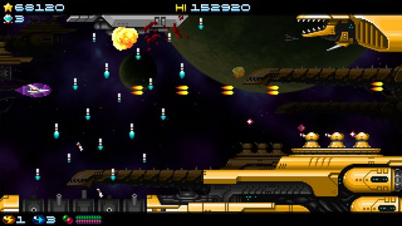 Super Hydorah fighting against a giant fleet with the invincibility powerup, very useful in arcade shoot'em up videogames
