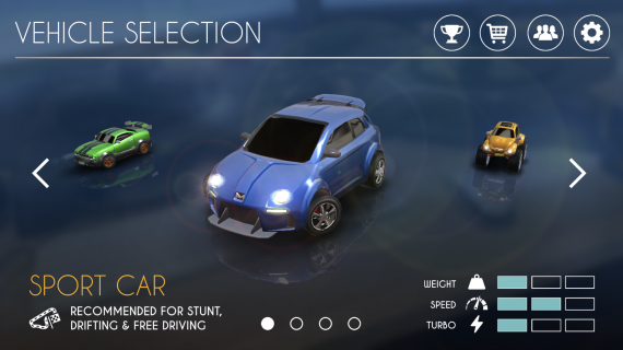 RC Club AR Motorsports for iOS, vehicle selection screen, it has the sport car, monster truck and the drift car