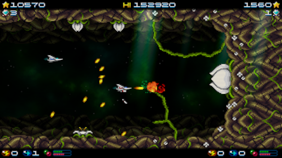 Super Hydorah shoot'em up arcade, co-op mode, fighting versus the plant boss and its roots, shooting to the flowers