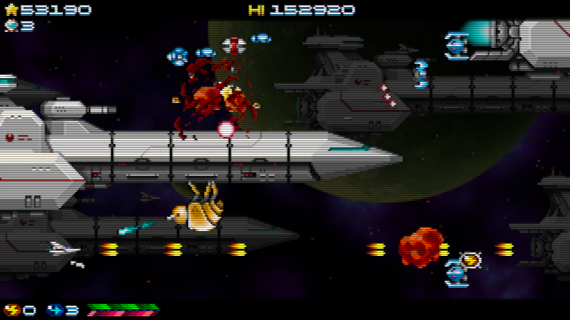 Super Hydorah fighting the menace of the meroptians in this arcade shoot'em up