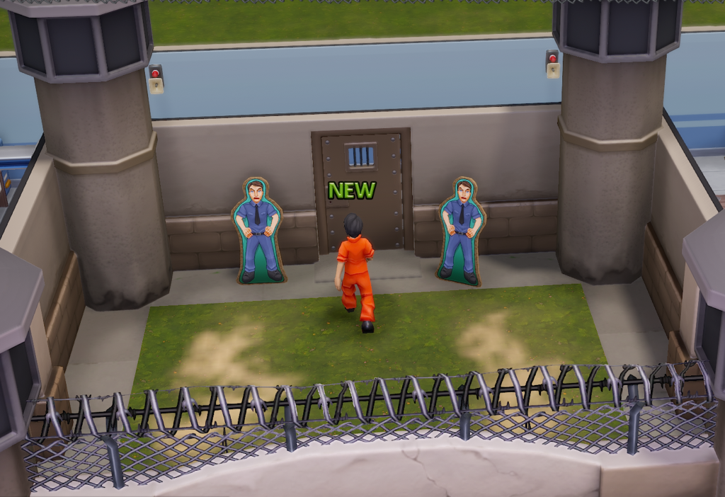New prisoner walking to the entrance facing two cardboard guards